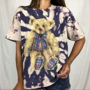 VTG 80s Tie Dye Thrashed Single Stitch Teddy Tee